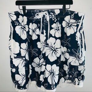 OP Blue White Floral Boardshorts Sz XXL